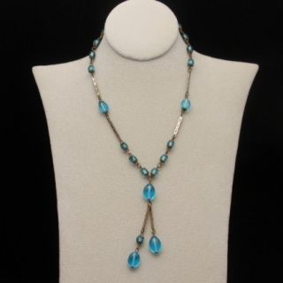 Art Deco Necklace Vintage Glass Beads Twin Drops Blue