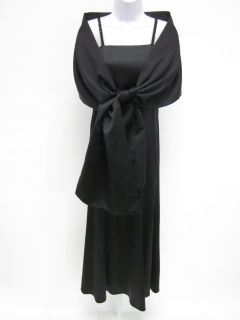 Nicole Miller Collection Black Long Dress Shawl Sz 14