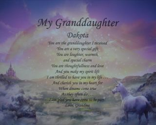 My Granddaughter Personalized Poem Birthday or Christmas Gift Idea