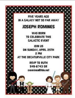 Personalized Star Wars Theme Birthday Party Invitations