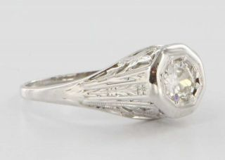 Antique Art Deco 18k White Gold Diamond Filigree Butterfly Engagement