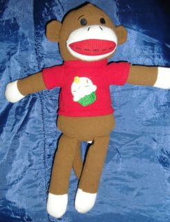 Sock Monkey Cupcake Plush 16 Dan Dee Cute Soft Stuffed Animal FS