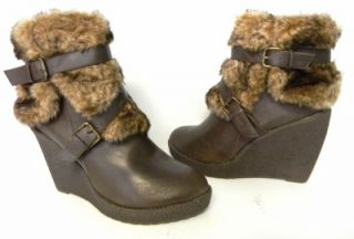 F387 Phat Farm/ Baby Phat DEMARIS Brown LEATHER Faux Fur SZ 9 M Free