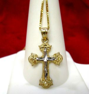 10K TWO TONE GOLD CROSS DIAMOND CUT DESIGN PENDANT NECKLACE WITH GOLD