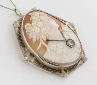 Antique Art Deco 14k White Gold Habille Cameo Pendant Pin Brooch Fine