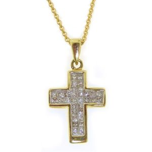 14k Yellow Gold Princess Diamond Cross Pendant w Chain 0 25 CTW