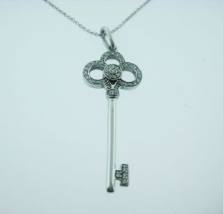 Tiffany Co 18K White Gold Crown Diamond Key Pendant Necklace