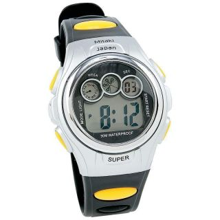 Mens Digital Sport Watch Black & Yellow WATERPROOF to 30M Stopwatch