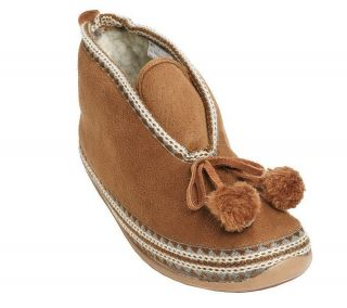 Deer Stags Mutsy Slipperooz in Outdoor Pom Pom Tassel Bootie Slipper
