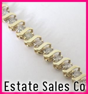 10k Yellow Gold Round Diamond S Bar Link Tennis Bracelet 2.80ct