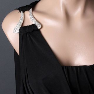 Black Evening Goddess One Shoulder Strapless Formal Toga Prom Dress