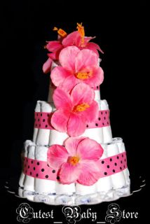 Pink Black Polka Dot Diaper Cake Baby Girl Shower Gift
