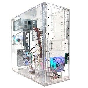 Transparent Clear Mid Tower ATX Computer Case w 3 LED Fans PSU not
