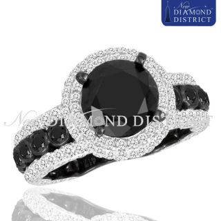 Total Fancy Black Round Diamond Engagement Ring 14k Black Gold