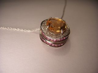 White Gold Diamond Solitaire Citrine Pink Sapphire Pendant Necklace
