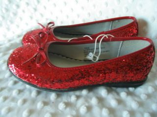 Red Glitter Dorothy Shoes Ballet Flats Girls Sz 12 5