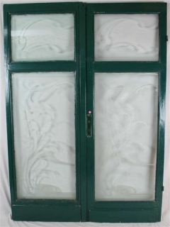 Antique French Doors Circa 1900 with Art Nouveau Etched Glass WOW Pair