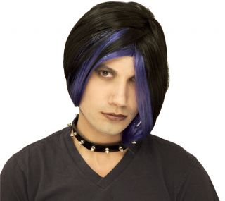 New Adult Girls Boys Black Purple Wig Punk Rocker Vampire Halloween