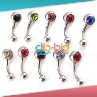 8mm Crystal Double Gem Ball Belly Button Navel Ring