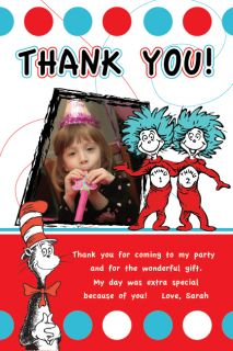 HAT DR SEUSS THING 1 AND 2 Thank You Card Birthday Party Invitation