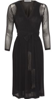 Diane Von Furstenberg Solenn Pleated Chiffon Wrap Dress Black $585
