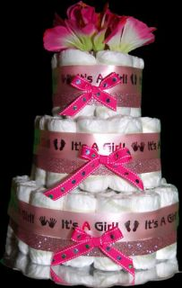 Baby Girl Shower Centerpiece Gift Pink Diaper Cake