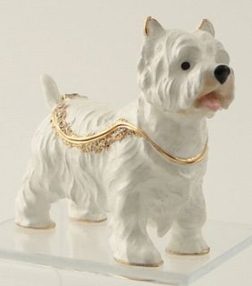 Item WEST HIGHLAND TERRIER. WESTIE DOG CRYSTAL JEWELRY BOX