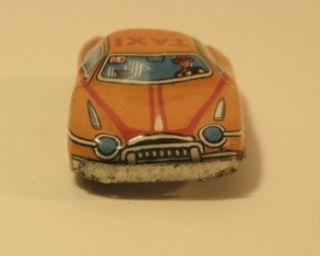 Pressed Tin Litho Orange Toy Taxi Car Driver Figure A 123 Japan