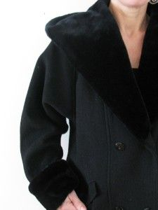 donnybrook usa black wool faux fur hooded coat jacket 10