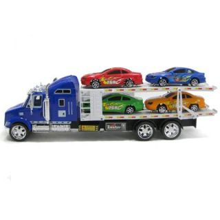 32 Friction Forward Semi Truck Race Car Carrier Transporter Truck