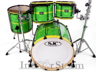 SJC Drums 4pc Custom Maple Drum Set Lime Green Pearl