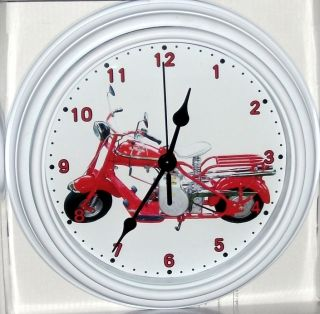 Classic Cushman 1952 Red Eagle Scooter Custom Motorcycle Wall Clock