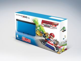 Brand New Nintendo 3DS XL Blue Black Mario Kart 7 Holiday Bundle Ships