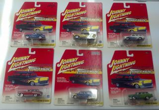 Johnny Lightning 6 Car Thunder Wagons set 55 56 57 Chevy Nomad Rambler
