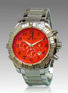 New Adee Kaye Mens Chronograph Red Dial Stainless Steel Watch AK7140 M