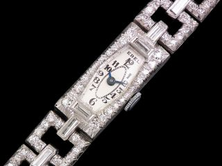 Stunning Ebel Art Deco Platinum Diamond Ladies Vintage Watch C1930s