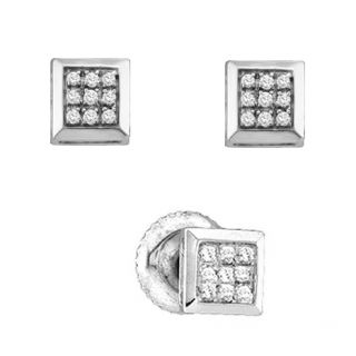 Diamond Square Stud Post Earrings Unisex Men Ladies 925