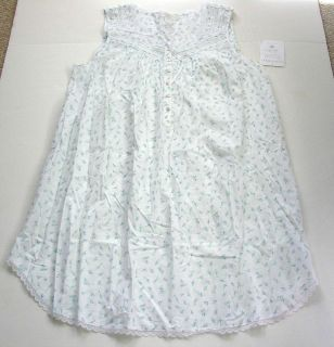 EILEEN WEST FLORAL COTTON LAWN & WHITE LACE GOWN L NEW Ret $60