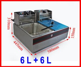 5000W Double 6 L Tank Restaurant Countertop Electric Deep Fryer