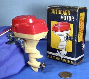 Toy Boat Electric Battery Outboard Motor in Box 1950s Japan Import