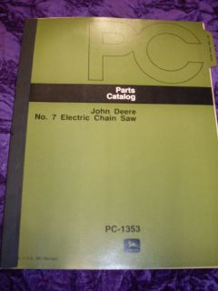 John Deere No 7 Electric Chain Saw Parts Manual