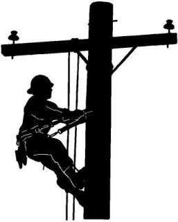 Black Vinyl Decal Lineman Electric Pole Climber Fun Sticker Truck