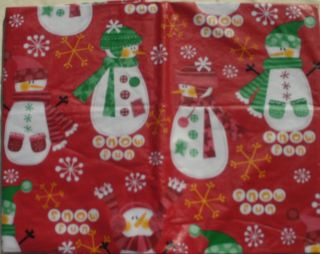 New Snowman Snow Fun Vinyl Tablecloth Red Green Gold 52x70 Flannel