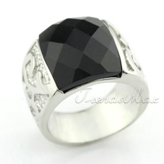 Mens Black Agate Engraved 316L Stainless Steel Ring KR02