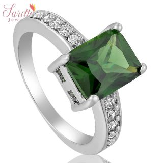 EMERALD CUT FASHION JEWELRY GREEN EMERALD LADY 18K GOLD PLATED RING 8