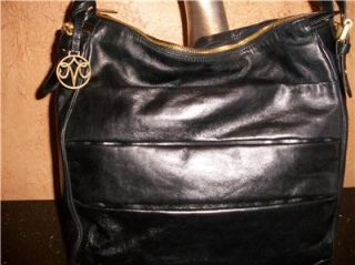 Johnston Murphy Black Leather Zip Bag Tote Satchell Shoulder Bag Purse