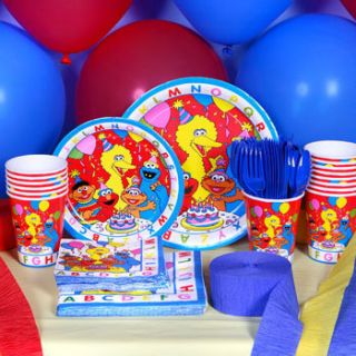 Sesame Street Elmo ABC Birthday Supplies Party SET for 16 ~Cups Plates