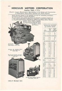 1946 Hercules Motors Gas and Diesel Engines Print Ad