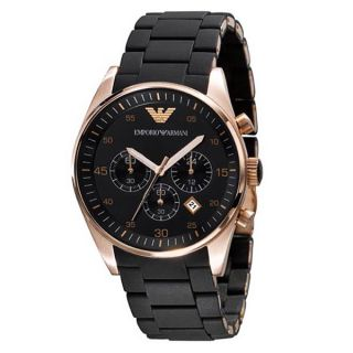 Emporio Armani Chronograph Rose Gold Bezel Mens Watch AR5905