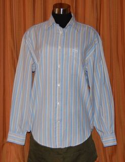 Faconnable Long Sleeve White Light Blue Gray Cotton Stripe Shirt